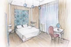 Camera da letto interna Immagine Stock Libera da Diritti