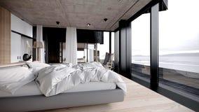 Camera da letto interna contemporanea Illustrazione di Stock