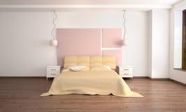 camera da letto leggera moderna interna nello stile di Fotografia Stock