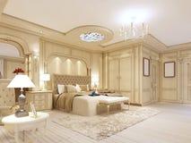 Camera da letto lussuosa nei colori pastelli in uno stile neoclassico Fotografia Stock