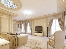 Camera da letto lussuosa nei colori pastelli in uno stile neoclassico Fotografie Stock Libere da Diritti