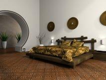 Camera da letto lussuosa nello stile etnico illustrazione di stock