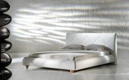 Camera da letto minimalista bianca Immagini Stock