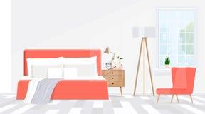Camera da letto minimalistic moderna di interior design nei toni di corallo Illustrazione piana di vettore fotografia stock
