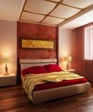 Camera da letto moderna 3d interno di stile Immagine Stock