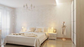 Camera da letto moderna bianca Fotografia Stock Libera da Diritti