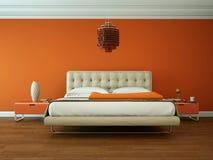 Camera da letto moderna con la parete arancio e decorazione moderna illustrazione vettoriale