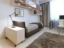 Camera da letto moderna con le pareti bianche Fotografie Stock