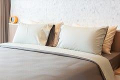 Camera da letto moderna di lusso di stile Fotografie Stock Libere da Diritti