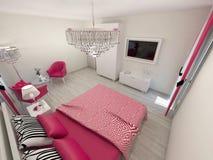 Camera da letto moderna elegante Fotografie Stock