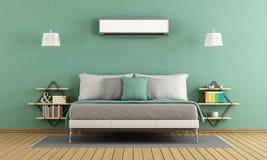 Camera da letto moderna verde Fotografie Stock Libere da Diritti