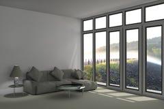 Camera da letto pacifica moderna nell'immagine della rappresentazione della foresta 3D Fotografia Stock