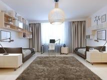 Camera da letto per uno stile contemporaneo di due tenagers Immagine Stock Libera da Diritti