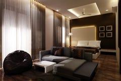 Camera da letto principale 3D Fotografie Stock Libere da Diritti