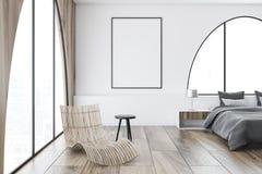 Camera da letto principale delle finestre incurvata bianco, manifesto royalty illustrazione gratis