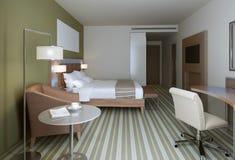 Camera da letto principale nello stile contemporaneo Fotografie Stock