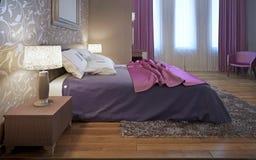 Camera da letto principale nello stile di avanguardia Fotografia Stock Libera da Diritti