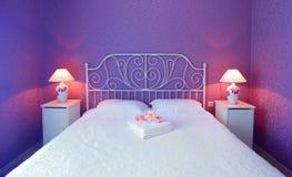 Camera da letto romantica Fotografie Stock