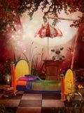 Camera da letto rossa di fantasia Fotografie Stock Libere da Diritti