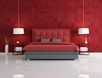 Camera da letto rossa di lusso Fotografie Stock Libere da Diritti