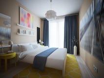 Camera da letto scandinava moderna contemporanea urbana Immagini Stock Libere da Diritti