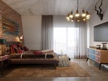 Camera da letto scandinava moderna contemporanea urbana del sottotetto Fotografia Stock Libera da Diritti