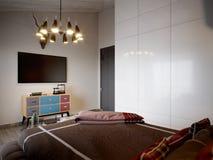 Camera da letto scandinava moderna contemporanea urbana del sottotetto Fotografie Stock