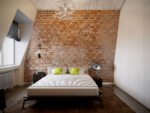 Camera da letto scandinava moderna contemporanea urbana del sottotetto Immagine Stock Libera da Diritti