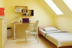 Camera da letto in soffitta o in granaio fotografia stock