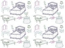 Camera da letto stabilita 1 della mobilia senza cuciture Immagini Stock