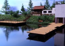 Camera del lago rendering 3D Fotografia Stock