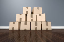 Camera del mucchio della scatola di cartone Immagini Stock Libere da Diritti