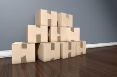 Camera del mucchio della scatola di cartone Fotografie Stock Libere da Diritti