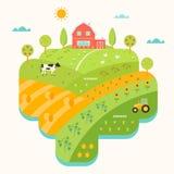 Camera dell'azienda agricola, colline e mappa illustrata campi Comcept di agricoltura Fotografia Stock
