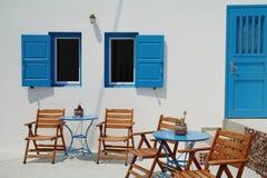 Camera della Grecia, verniciata blu e bianca, Santorini Immagine Stock