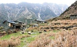 Camera della montagna dalle pietre in Himalaya fotografia stock