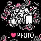 Camera Design Black Background Stock Photos