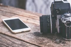 Camera, Desk, Device Royalty Free Stock Images