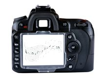 Camera. Detail of camera with white backdrop with music notes Royalty Free Stock Photography