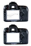 Camera. Detail of camera with white backdrop with music notes Royalty Free Stock Image