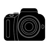 Camera detective. Camera, for shooting the scene, and to commit murder.Detective single icon in blake style vector Royalty Free Stock Image