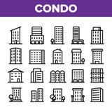 Camera di abitazione, insieme lineare delle icone di vettore del condominio illustrazione vettoriale