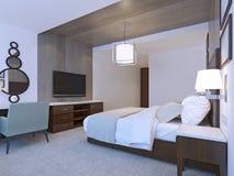 Camera di albergo con progettazione minimalista Fotografie Stock Libere da Diritti