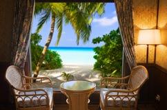Camera di albergo e paesaggio fotografie stock libere da diritti