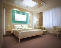 Camera di albergo moderna di lusso nei colori leggeri Fotografie Stock Libere da Diritti