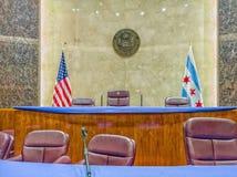 Camera di giunta comunale alla costruzione del comune di Chicago nel ciclo immagini stock libere da diritti