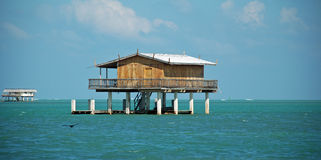 Camera di legno dello Stilt in Stiltsville Florida Fotografia Stock Libera da Diritti