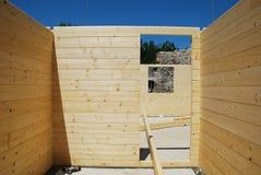 Camera di legno parzialmente costruita Fotografia Stock Libera da Diritti