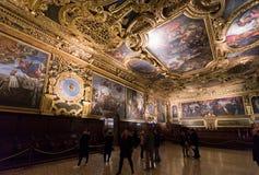 Camera di senato al palazzo del ` s del doge, Venezia Fotografie Stock