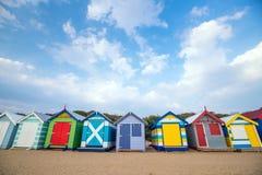 Camera di spiaggia variopinta a Brighton Beach, Melbourne fotografie stock libere da diritti
